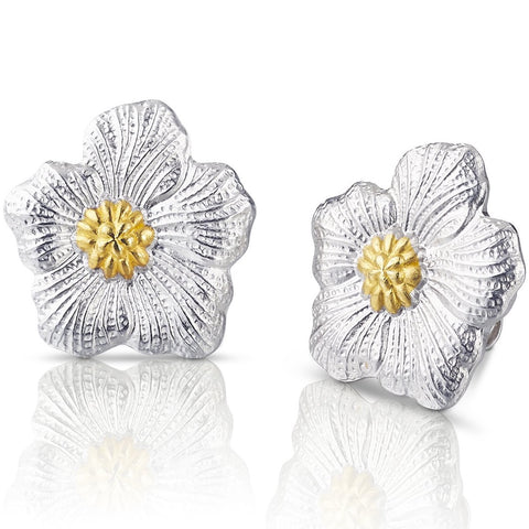 Buccellati - Blossoms Gardenia - Small Button Earrings, Sterling Silver with Gold Accents