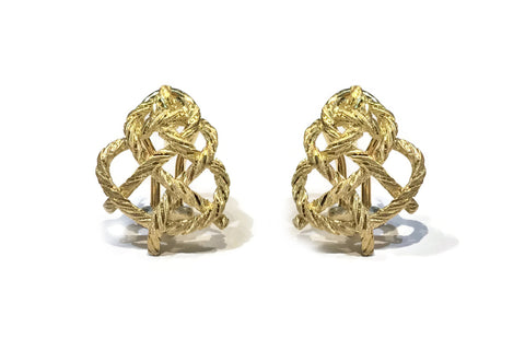 "Buccellati ""Crepe de Chine"" Button Earrings, 18k Yellow Gold."