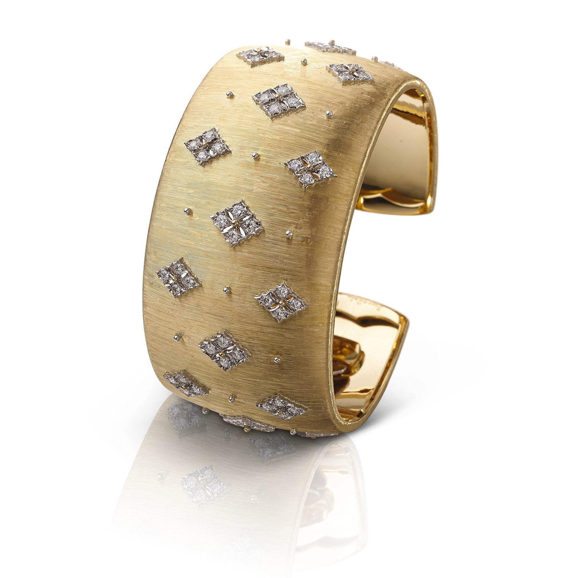 "Buccellati ""Prestigio"" Cuff Bracelet with Diamonds, 18k Yellow and White Gold."