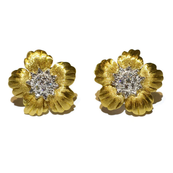 "Buccellati ""Daphne"" Button Earrings with Diamonds, 18k Yellow and White Gold."