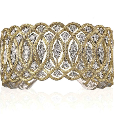 "Buccellati  ""Etoilee"" Cuff Bracelet with Diamonds, 18k Yellow and White Gold."