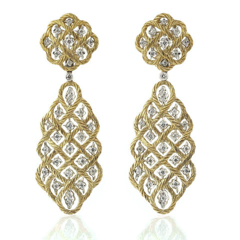 "Buccellati  ""Etoilee"" Drop Earrings with Diamonds, 18k Yellow and White Gold."
