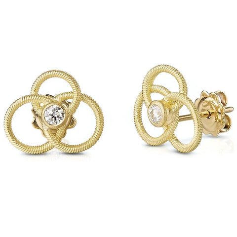 Buccellati - Hawaii Small Button Earrings with Diamonds, 18k Yellow Gold