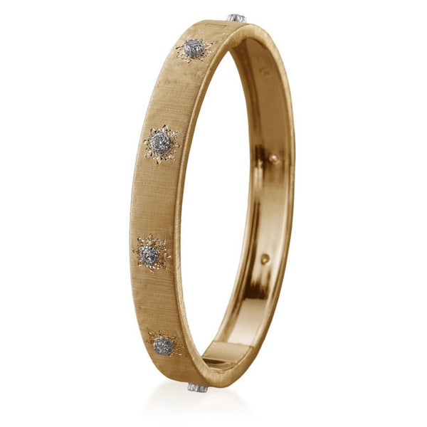 Buccellati - Macri Classica - Bangle Bracelet with Diamonds, 18k Yellow Gold, 8 mm