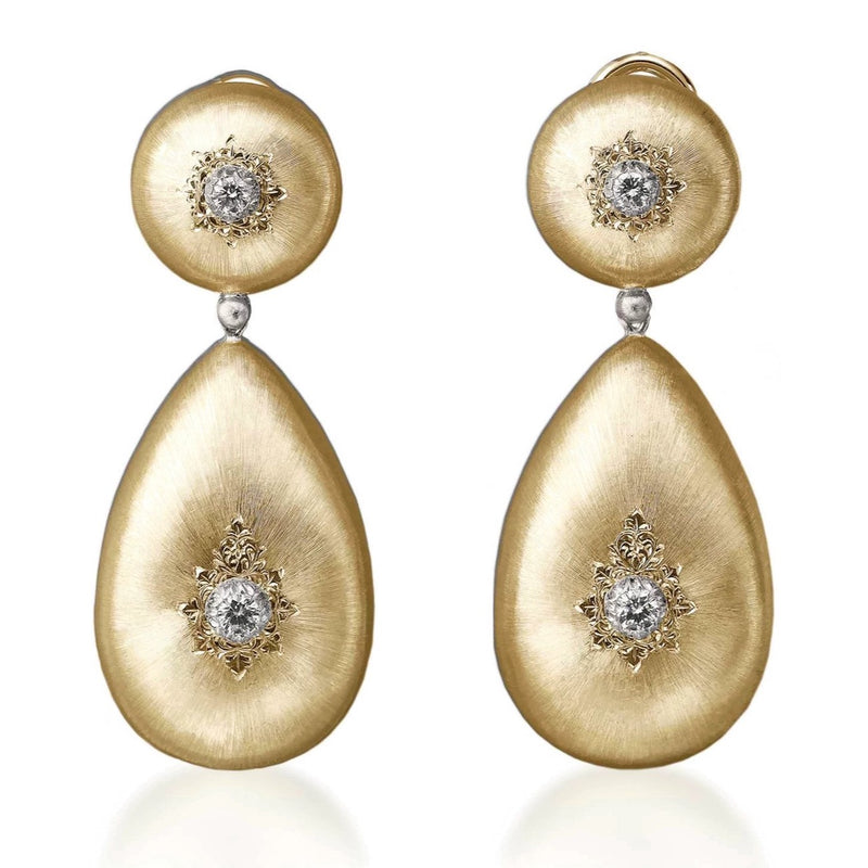"Buccellati ""Macri Classica"" Drop Earrings with Diamonds, 18k Yellow Gold."