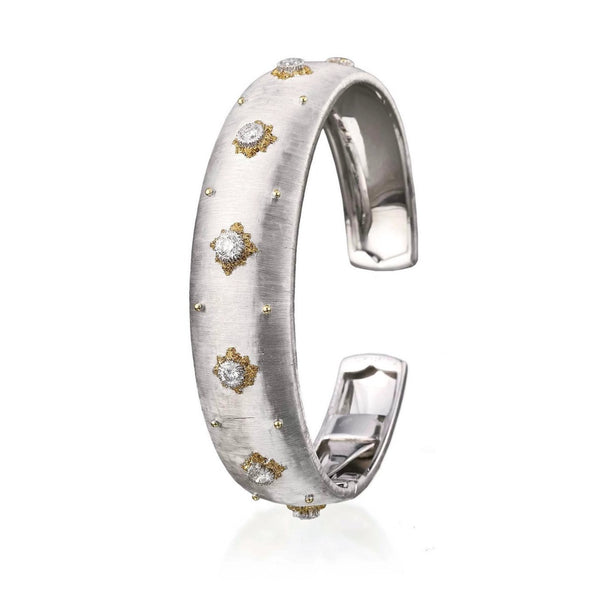 Buccellati - Macri - 16 mm Cuff Bracelet with Diamonds, 18k White Gold