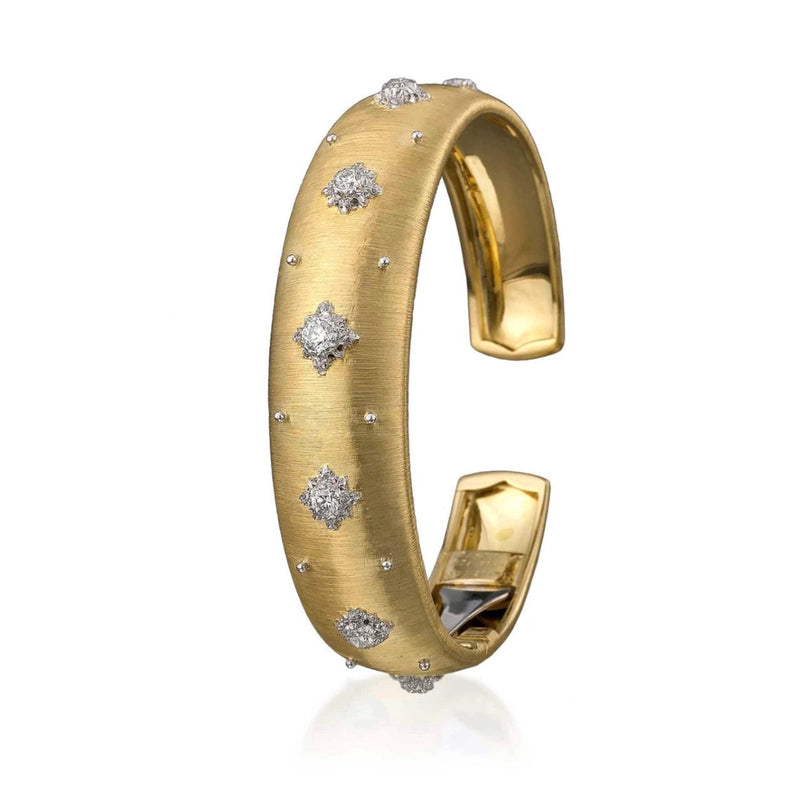 Buccellati - Macri- 16 mm Cuff Bracelet with Diamonds, 18k Yellow Gold