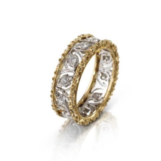 BUCCELLATI-RAMAGE-ETERNELLE-BAND-RING-DIAMONDS-WHITE-YELLOW-GOLD-B167Q8  Edit alt text