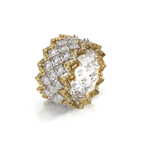 "Buccellati ""Ramage Rombi"" Eternelle  Band Ring with Diamonds, 18k White and Yellow Gold"