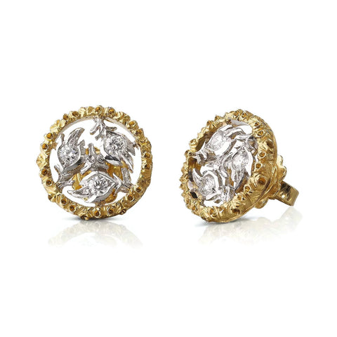 "Buccellati ""Ramage"" Small Button Earrings with Diamonds, 18k White and Yellow Gold"