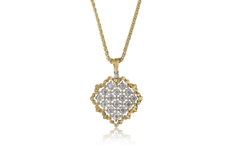 "Buccellati ""Ramage Rombi"" Heart Pendant with Diamonds, 18k White and Yellow Gold."