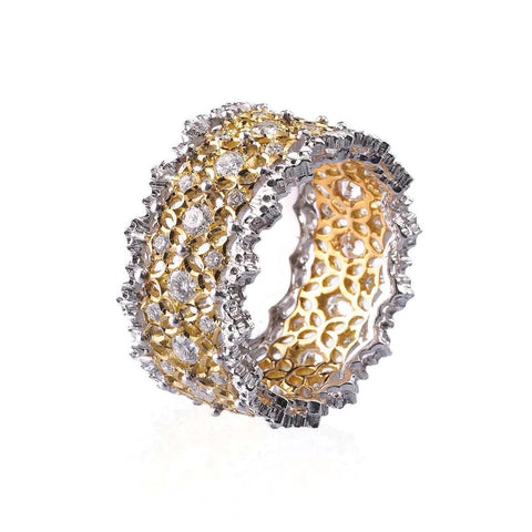 "Buccellati ""Venezia Pizzo"" Eternelle Band Ring with Diamonds, 18k Yellow and White Gold"