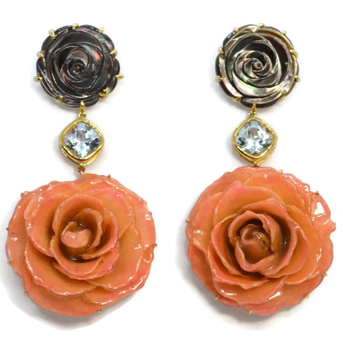 Bahina - Flowers - Drop Earrings with Mother of Pearl, Blue Topaz and Pink Real Rose Flowers, 18k Yellow Gold