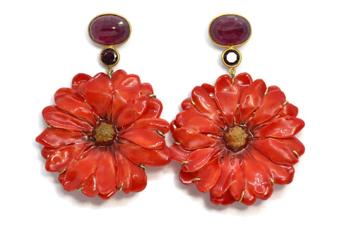 Bahina - Flowers - Drop Earrings with Red Corundum, Garnet and Red Real Daisy Flowers, 18k Yellow Gold