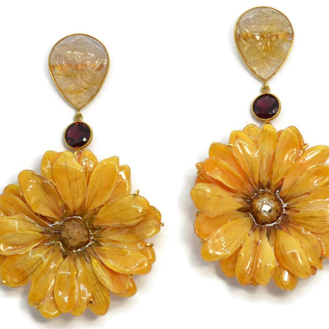 Bahina - Flowers - Drop Earrings with Yellow Sapphires, Garnet and Yellow Real Daisy Flowers, 18k Yellow Gold