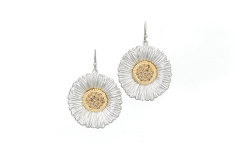 "Buccellati Blossoms ""Daisy"" Earrings, Sterling Silver with Gold Accents and Brown Diamonds."