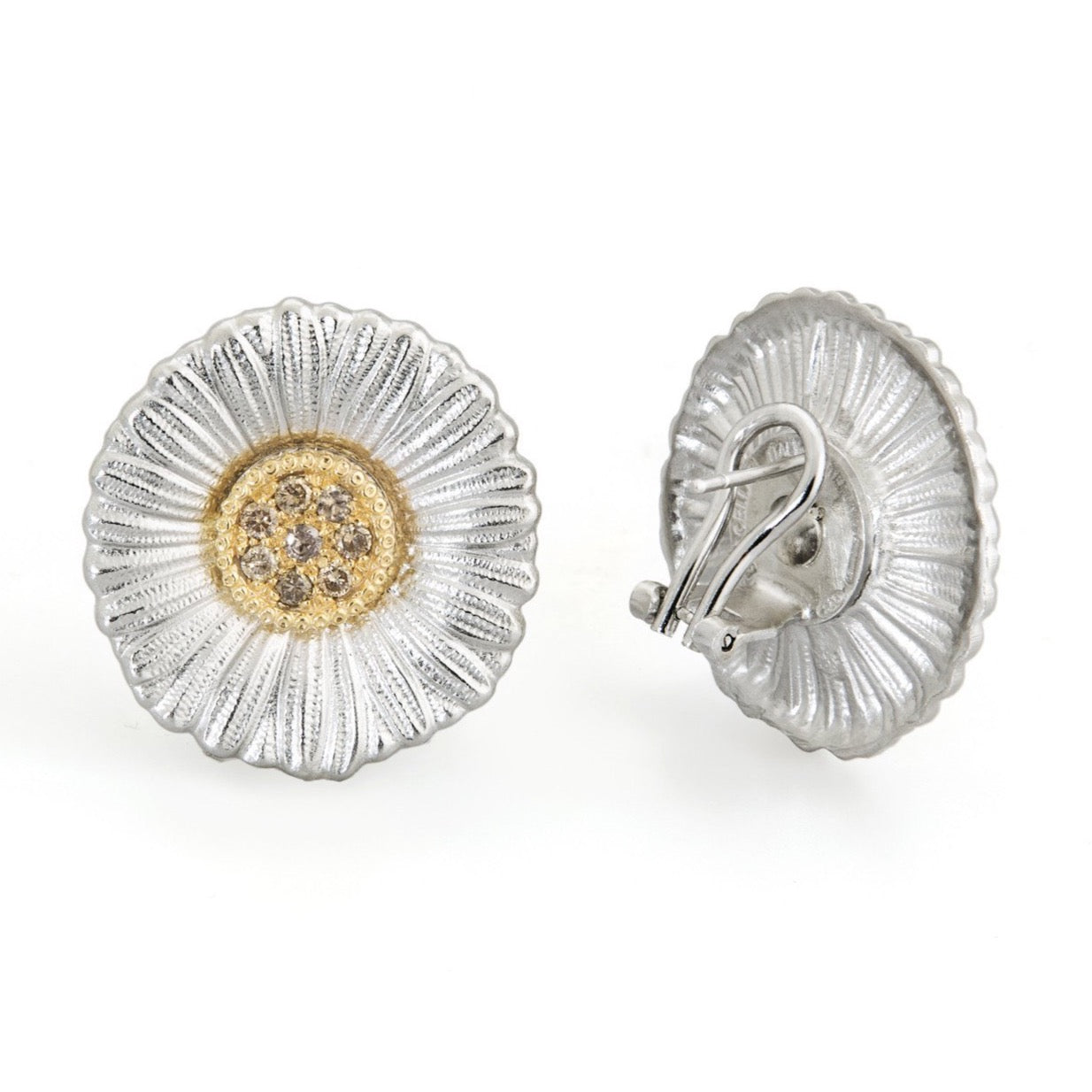 BUCCELLATI-BLOSSOMS-DAISY-BUTTON-EARRINGS-BROWN-DIAMONDS-STERLING-SILVER