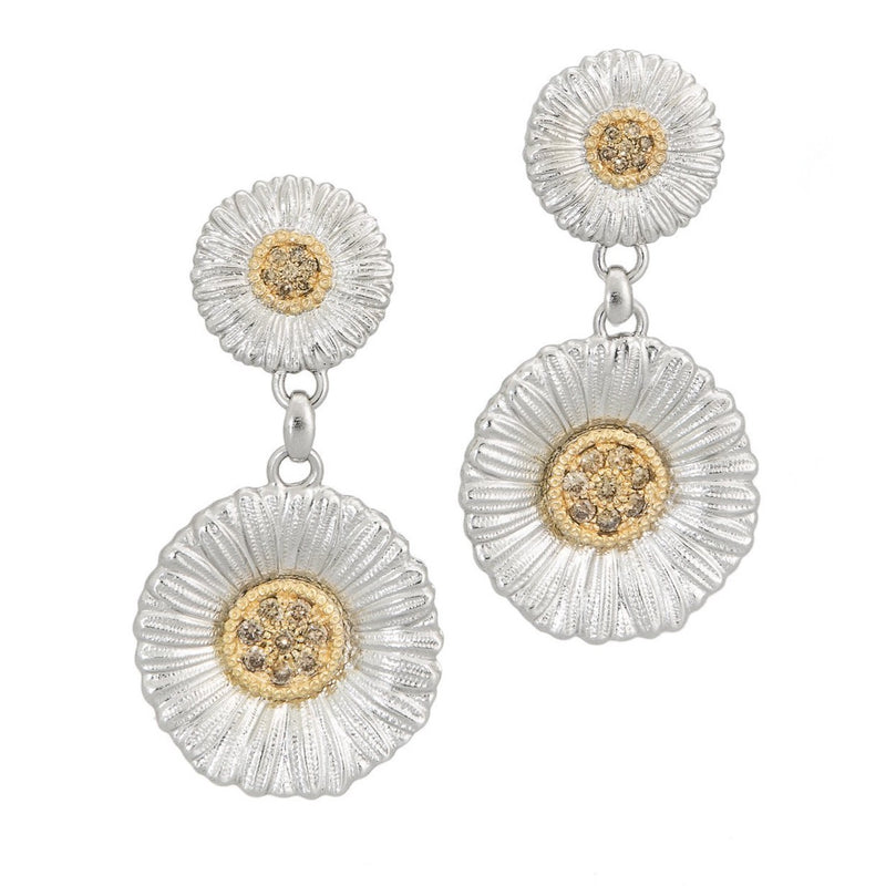 BUCCELLATI-BLOSSOMS-DAISY-DROP-EARRINGS-BROWN-DIAMONDS-STERLING-SILVER