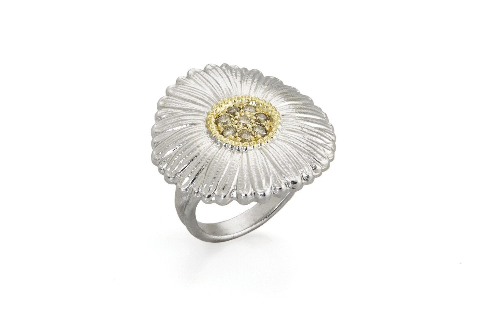 BUCCELLATI-BLOSSOMS-DAISY-RING-BROWN-DIAMONDS-STERLING-SILVER