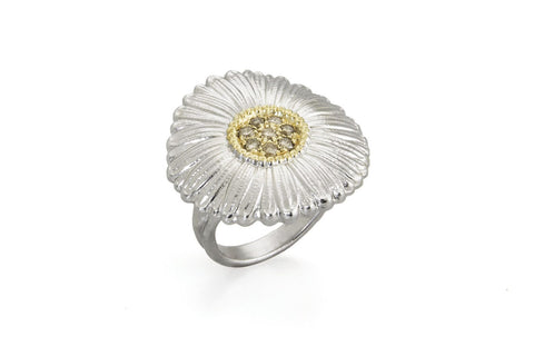 "Buccellati Blossoms ""Daisy"" Ring, Sterling Silver with Gold Accents and Brown Diamonds."
