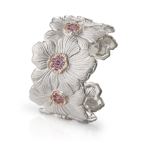 Buccellati - Blossoms Gardenia - Cuff Bracelet with Pink Sapphires, Sterling Silver with Gold Accents