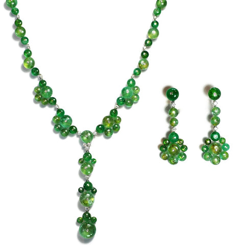 AF Jewelers - Necklace and Earrings with Cabochon Emeralds and Diamonds, 18k White Gold.