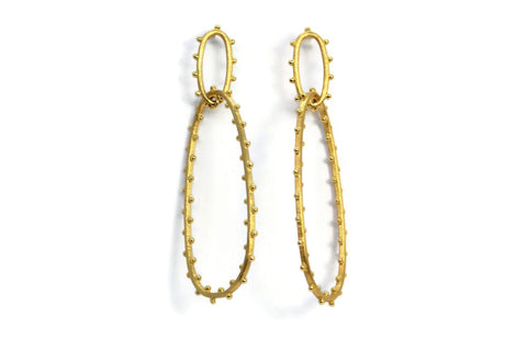 Carla Amorim - Beach Gold Drop Earrings, Yellow Gold.