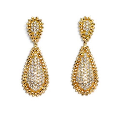 Carla Amorim - Carlota Drop Earrings with Diamonds, 18k Yellow Gold
