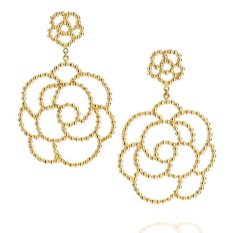 Carla Amorim Camilia Earrings, Yellow Gold.
