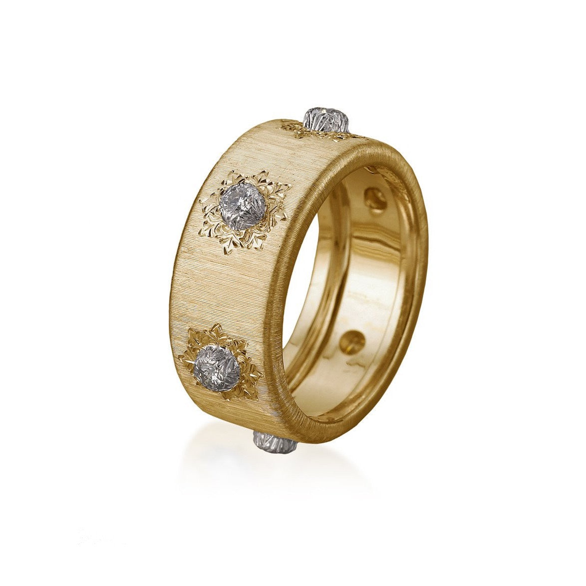 "Buccellati ""Macri Classica"" Eternelle 8.5 mm Band with Diamonds, 18k Yellow Gold."