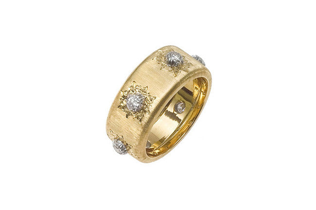 Buccellati - Macri Classica - Eternelle 8.5 mm Band with Diamonds, 18k Yellow Gold