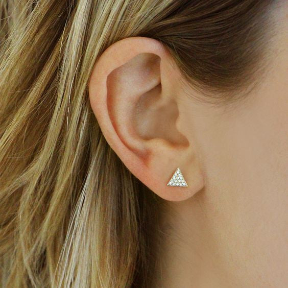 Dana Rebecca Designs - Emily Sarah - Triangle Stud Earrings with Diamonds, Yellow Gold