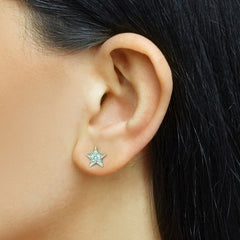 Dana Rebecca Designs - Julianne Himiko Star Earrings with Diamonds, Yellow Gold.