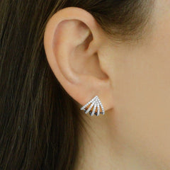 Dana Rebecca Designs - Sarah Leah Diamond Huggie Earrings, White Gold.