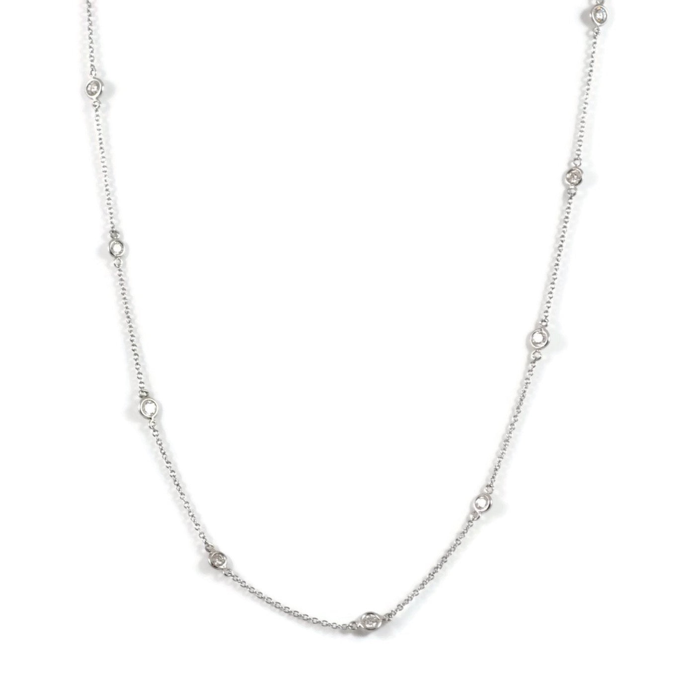 "AF Jewelers ""Station"" Necklace with 9 Diamonds, 18"" length, 18k White Gold."