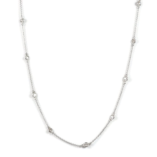 "AFJ Diamond Collection - Station Necklace with 9 Diamonds, 18"" length, 18k White Gold."