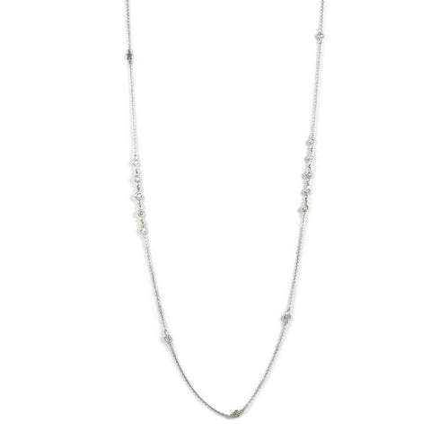 "AF Jewelers ""Station"" Necklace with Diamonds, 34"" length, 18k White Gold."