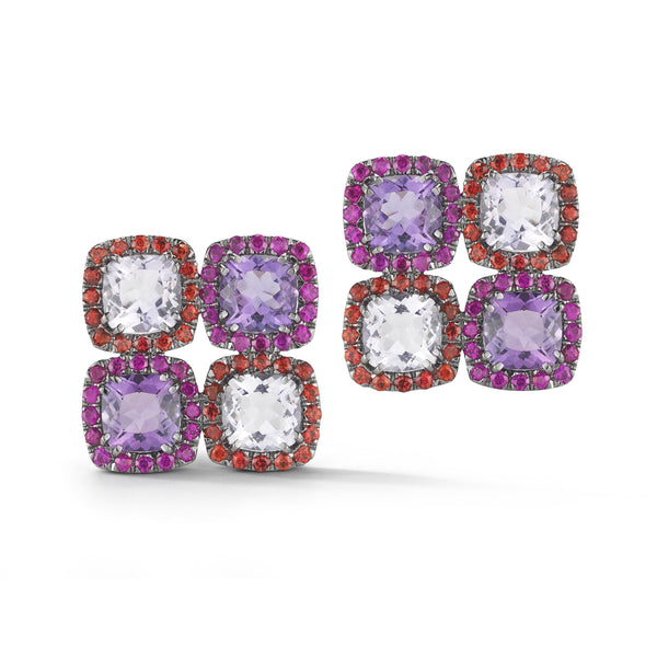 A-FURST-DYNAMITE-CLUSTER-EARRINGS-ROSE-DE-FRANCE-AMETHYST-ORANGE-SAPPHIRES-RUBIES-BLACKENDE-GOLDO1314GNA2RF4O