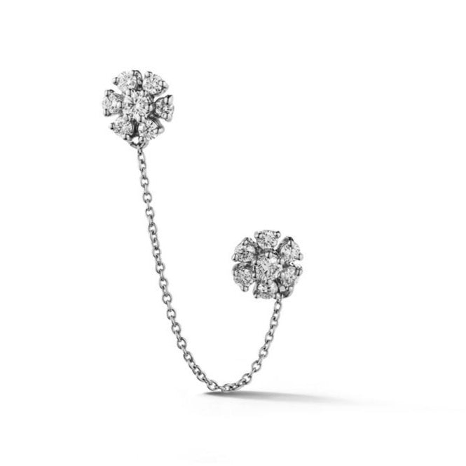Dana Rebecca Designs - Jennifer Yamina - Double Flower Chain Stud Earring, White Gold