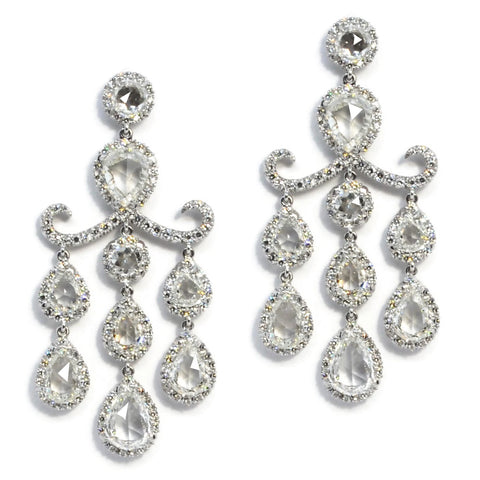 AF Collection - Chandelier Drop Earrings with Rose-cut Diamonds, Platinum