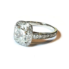 Eclat Halo Ring with 1 Cushion-cut Diamond and 37 Round Diamonds, Platinum.