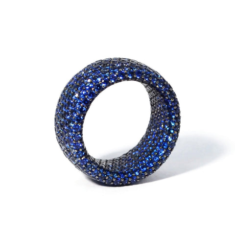 Eclat - Inside & Out - Blue Sapphire Band Ring, 18k Blackened Gold