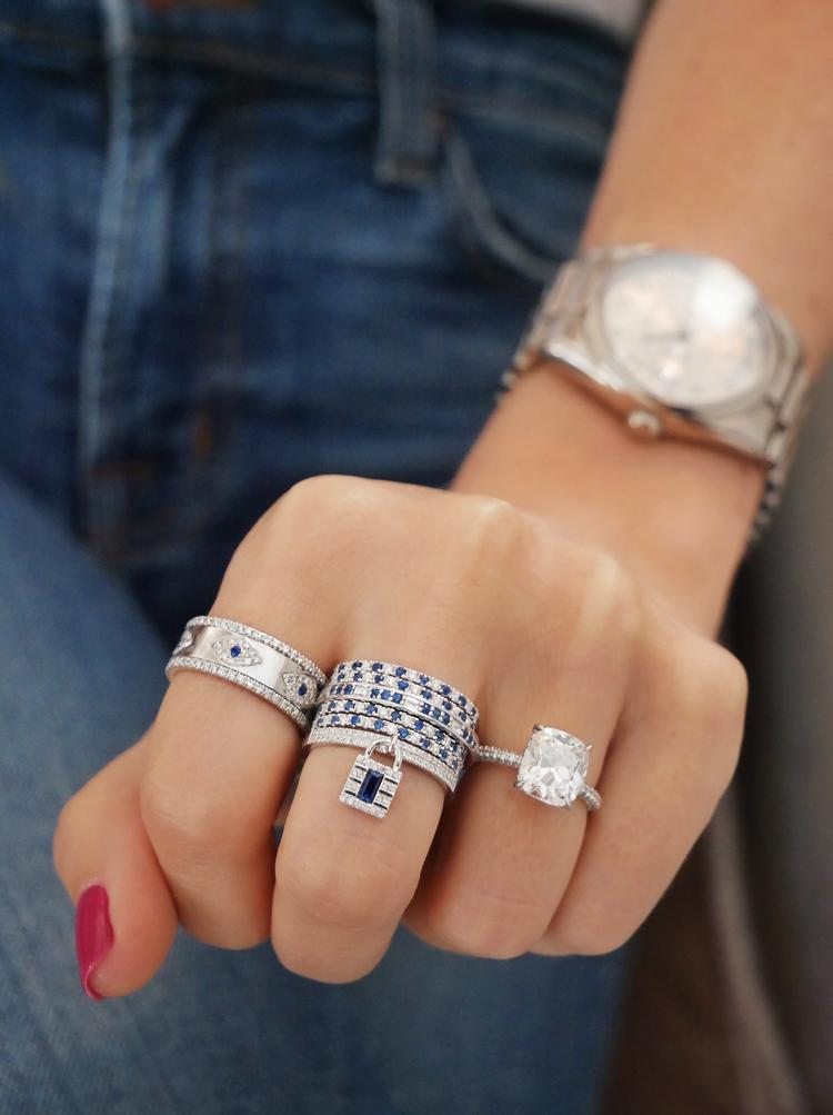 EF Collection - Diamonds and Blue Sapphires Dot Eternity Band Ring, White Gold