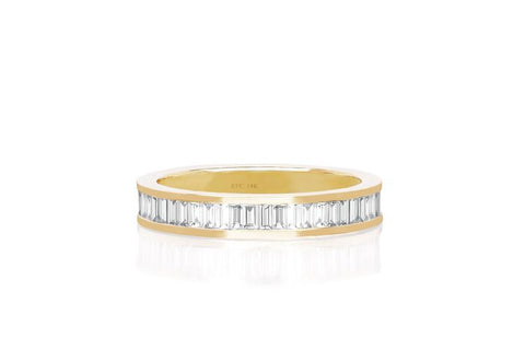 EF Collection - Diamond Baguette Eternity Band Ring, Yellow Gold.