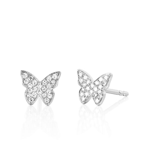 EF Collection - Diamonds Butterfly Stud Earrings, White Gold.