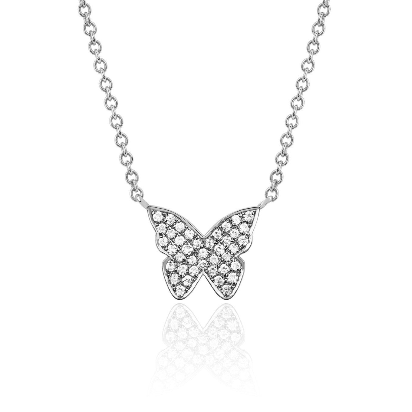 EF Collection - Diamonds Butterfly Necklace, White Gold.
