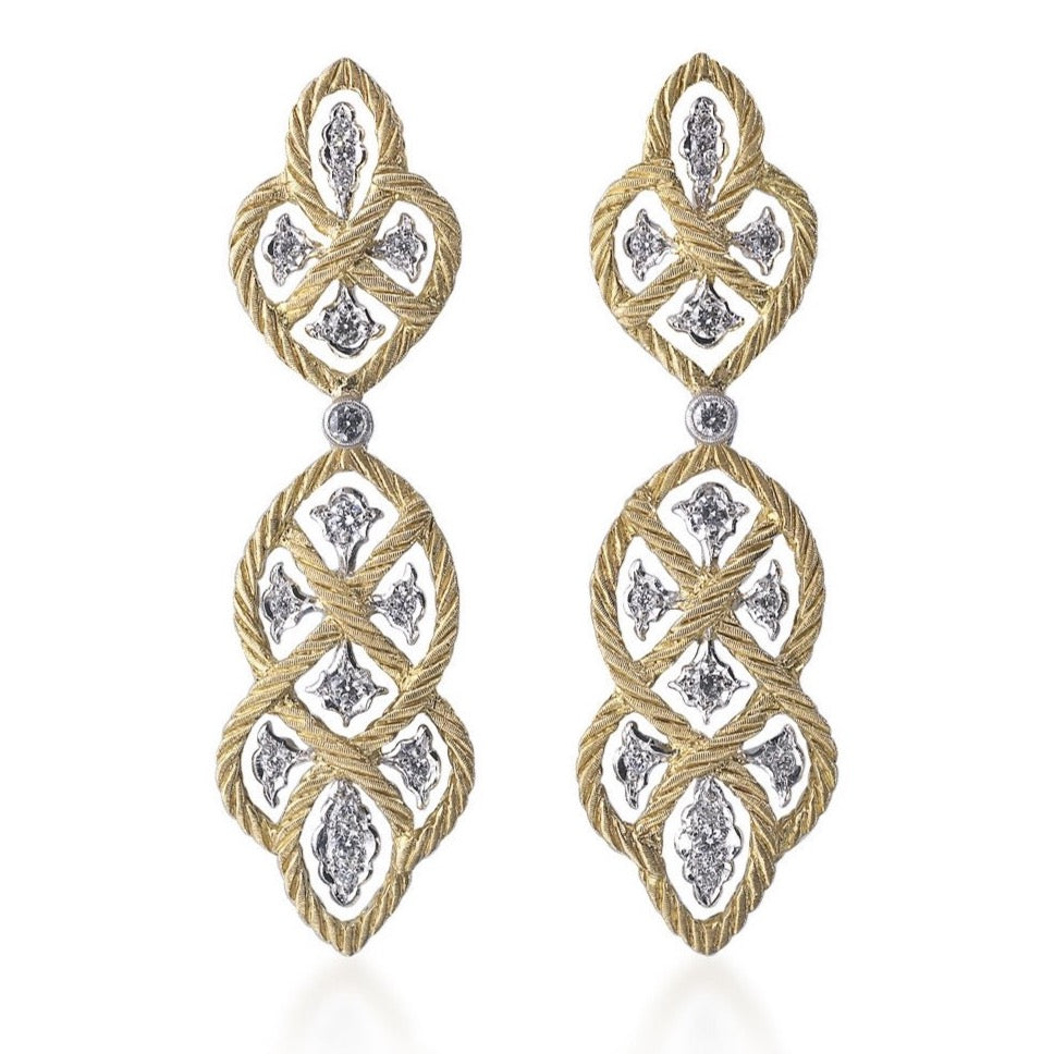 "Buccellati ""Etoilee"" Pendant Earrings with Diamonds, 18k Yellow and White Gold."