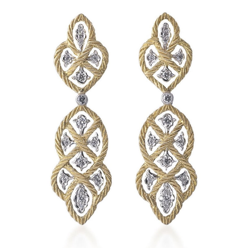 Buccellati - Etoilee - Pendant Earrings with Diamonds, 18k Yellow and White Gold