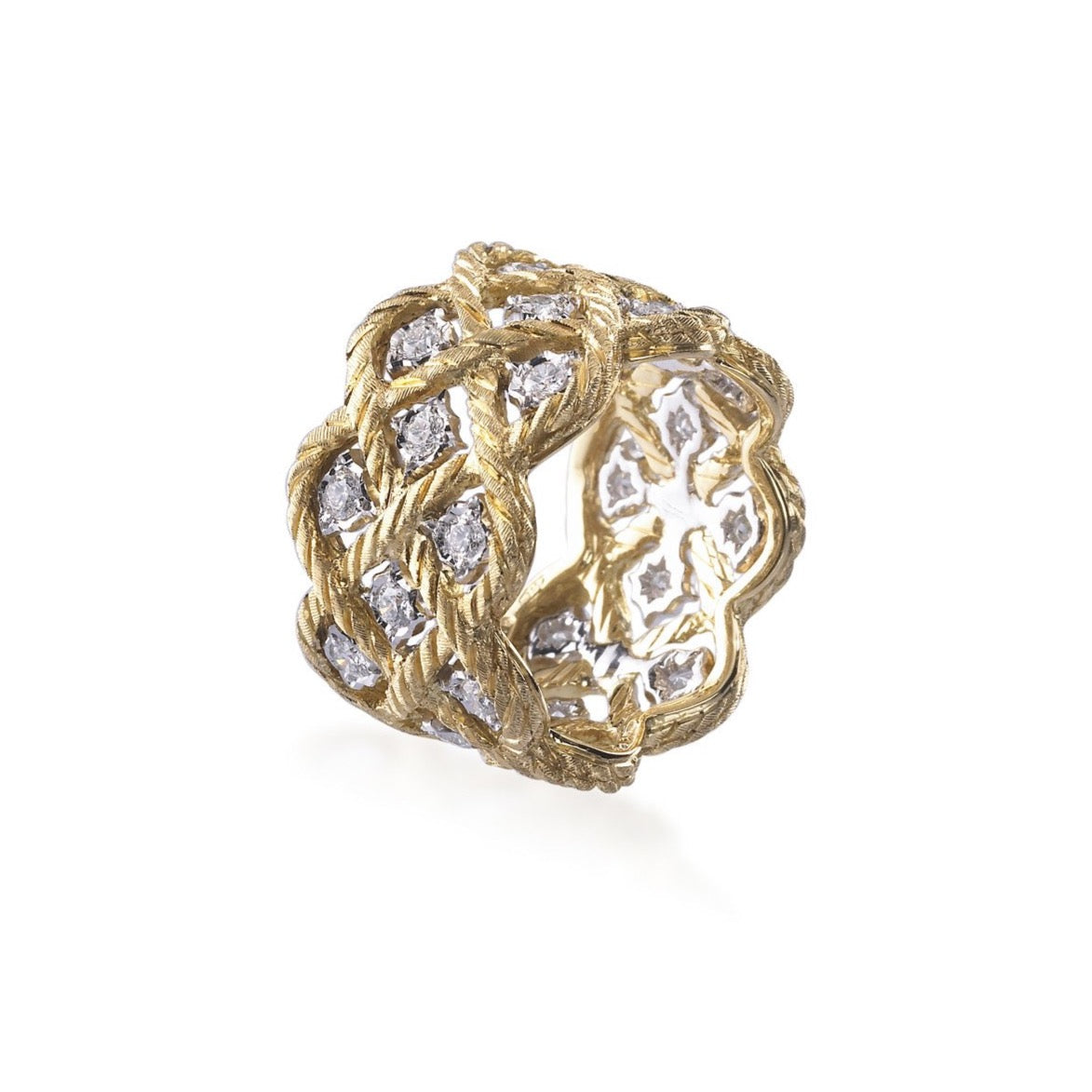 "Buccellati ""Etoilee"" Band with Diamonds, 18k Yellow and White Gold."