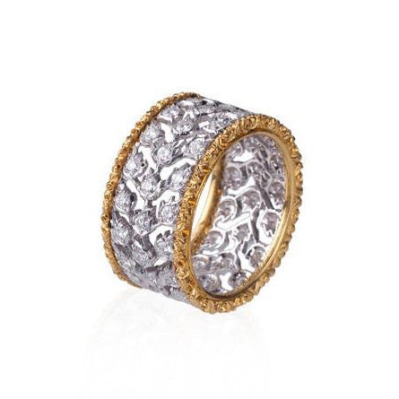 "Buccellati ""Ramage Milano"" Band with Diamonds, 18k White and Yellow Gold."